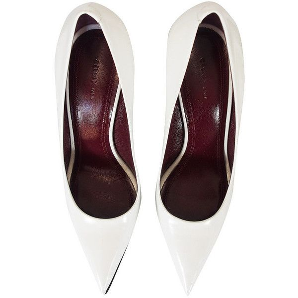 A/W 2012 Celine White Pointed Wedge Pump 38 (£430) ❤ liked on Polyvore featuring shoes, pumps, heels, white pumps, white pointed-toe pumps, wedge shoes, pointy-toe pumps and high heel shoes