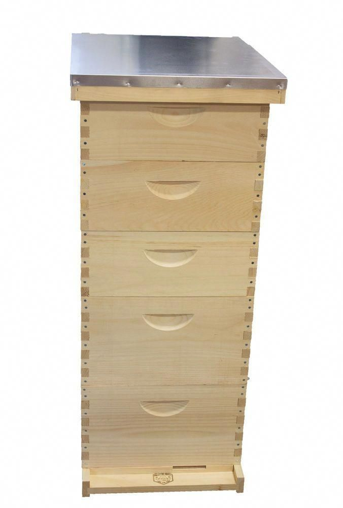 Unassembled MEDIUM 10 Frame Honey Super Langstroth Beehive Box COMMERCIAL Pine