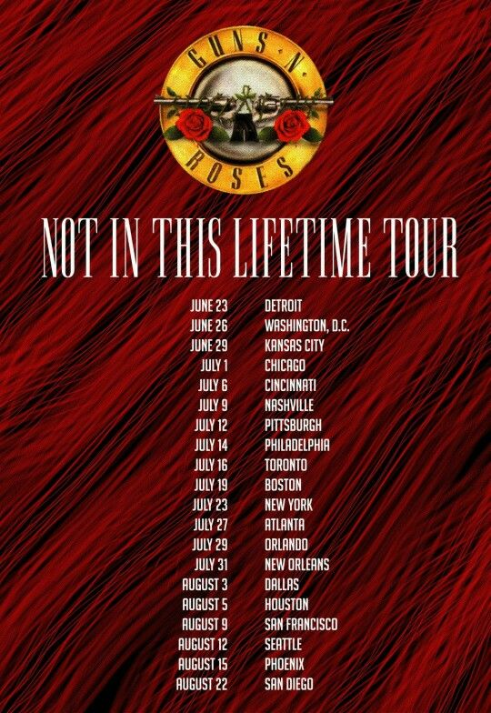 Guns n roses Not In This Lifetime reunion tour...I will be at Sold out show in Chicago,hellz yeah!!!