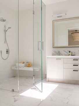 Walk In Showers Design Ideas, Pictures, Remodel and Decor. Faucet placement near bench.