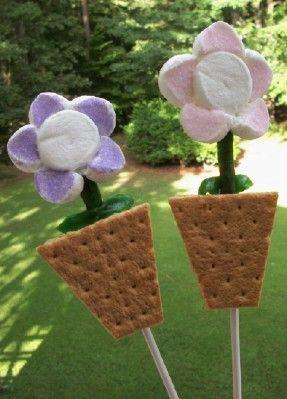 S'more Flower Pot Pops! Adorable!!: Pots Pop, Fun Food, Flowers Pop, For Kids, Marshmallows Flowers, Flowers Pots, Smore Flowers, S More Flowers, Kitchens Fun