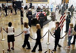 On June 5, 2004, Ronald Reagan, the 40th President of the United States, died after having suffered from Alzheimer's disease for nearly a decade. His seven-day state funeral followed. After Reagan's death his body was taken from his Bel Air, Los Angeles, California home to the Funeral Home in Santa Monica, California to prepare the body for burial. On June 7, Reagan's casket was transported by hearse and displayed at the Ronald Reagan Presidential Library then flown to Washington DC