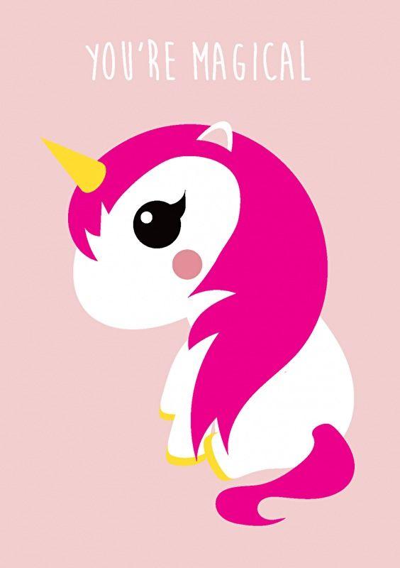 Ansichtkaart Eenhoorn roze met tekst You're magical. Leuk om te versturen, maar is ook heel leuk om in de kinderkamer ergens neer te zetten of op te hangen. roze meisje