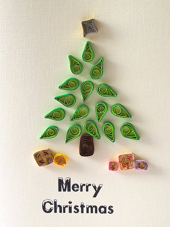 CHRISTMas Tree quilled Card  handmade green funny by szalonaisa, $7.60: