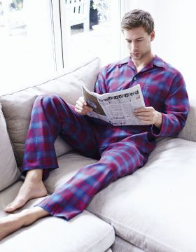 Brushed Cotton Elastic-Waist Men's Pyjamas