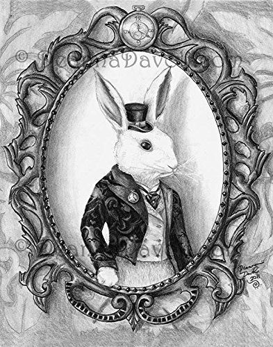White Rabbit Art Print Alice in Wonderland Art Bunny Art Wall Art Home Decor Victorian Rabbit Fairy Tale Artwork 8x10, 11x14. A Victorian styled White Rabbit. Instead of showing him in the rabbit hole I decided to show him creeping into our world another way....through a painting. Properly dressed in a suit and top hat, this white rabbit means business, he works for the Queen of Hearts after all.
