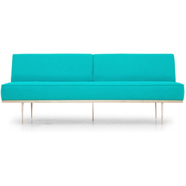 Percy Mid Century Modern Blue Loveseat ($1,199) ❤ liked on Polyvore featuring home, furniture, sofas, blue, home decor, sofa, mid century modern couch, mid century style furniture, midcentury modern furniture and blue loveseat