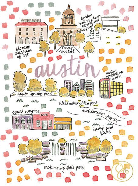 Austin Map Print by EvelynHenson on Etsy