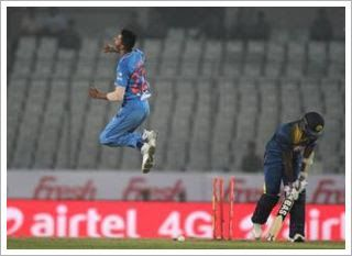 Tom Lathambecame the tenth batsman to carry his bat through an ODI innings as India bowled New Zeal...