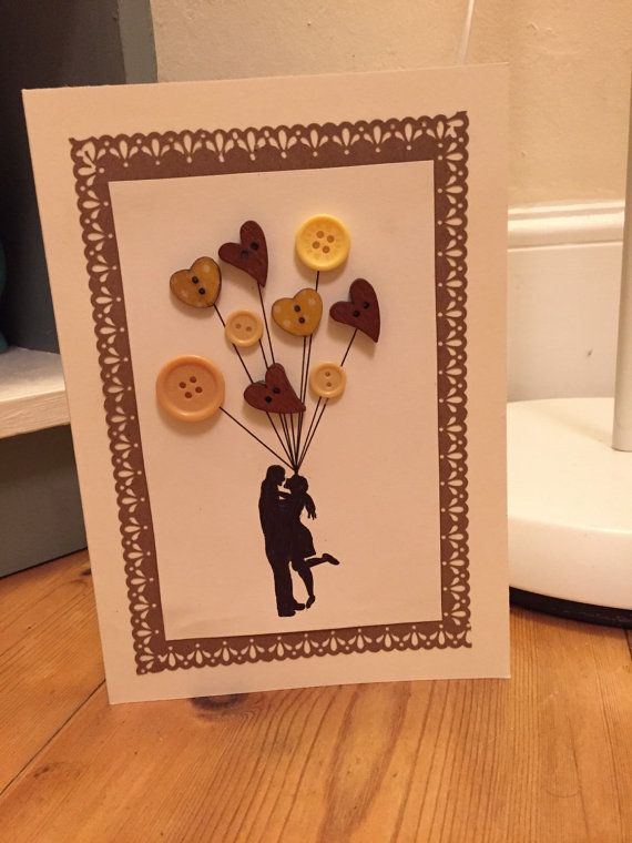 Handmade button Aniversary card by KPartandcrafts on Etsy