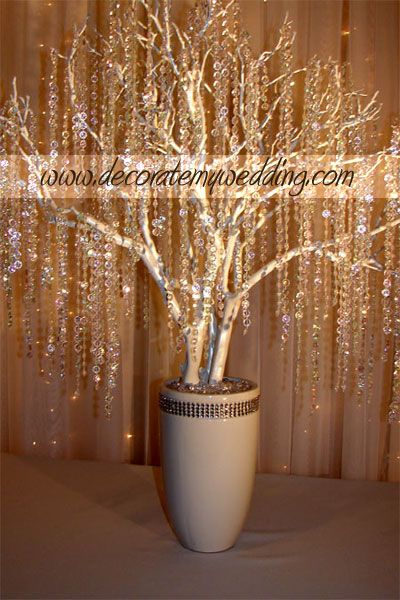 DECORATE MY WEDDING - Wedding Decorations - Crystal Wedding Trees & Crystal Wedding Decorations …could use spray foam for this ;)
