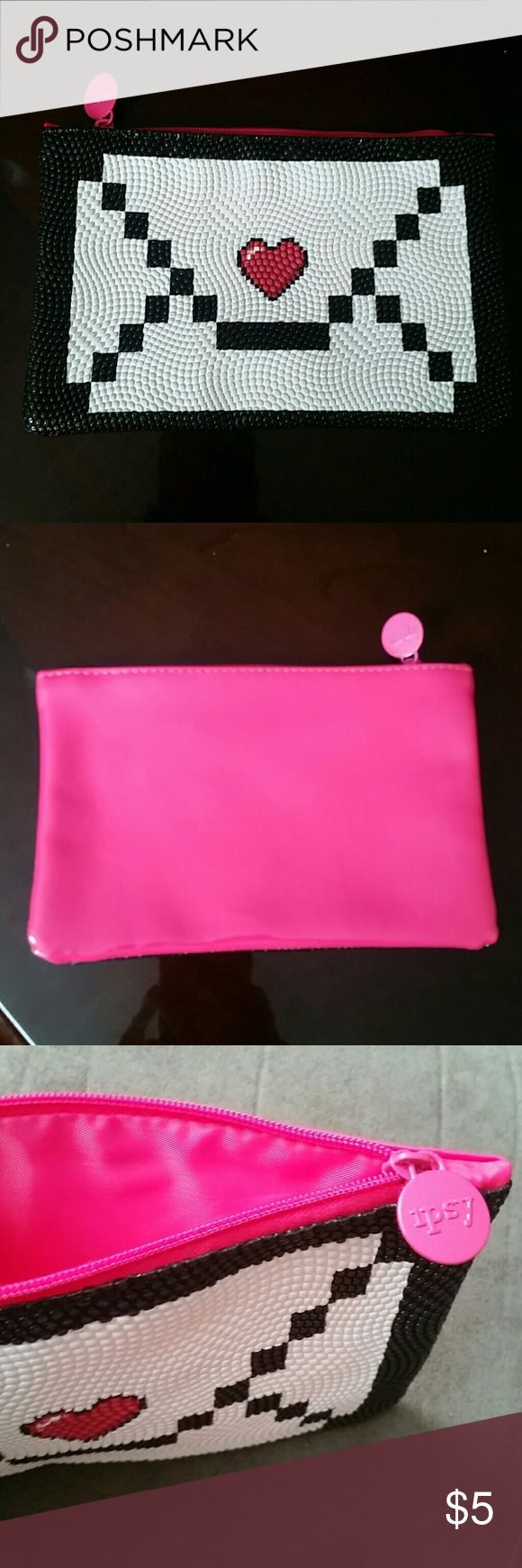 """$5 CLEARANCE  Digital Love Letter Make-up Bag Ipsy Make-up Bag / Cosmetic Bag Digital Love Letter design on front Solid Patent Pink back Pink zipper and lining Approximately 4.5"""" x 7""""  Bundle Discount Offers Welcome!  Summer, Fall, Autumn, Winter, Back to School bts, Student, Wear to Work, Teacher, Flirty, Fun, Edgy, romantic, valentines, love, classic Ipsy Bags Cosmetic Bags & Cases"""