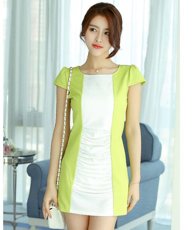 ชุดเดรสทำงานสีเขียว แขนสั้น ผ้าโพลีเอสเตอร์ เอวเข้ารูป http://www.fashiontooktook.com/product/3290/