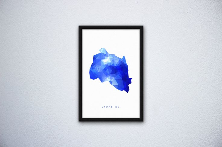 Mineral poster Sapphire by SliwkaGraphics on Etsy