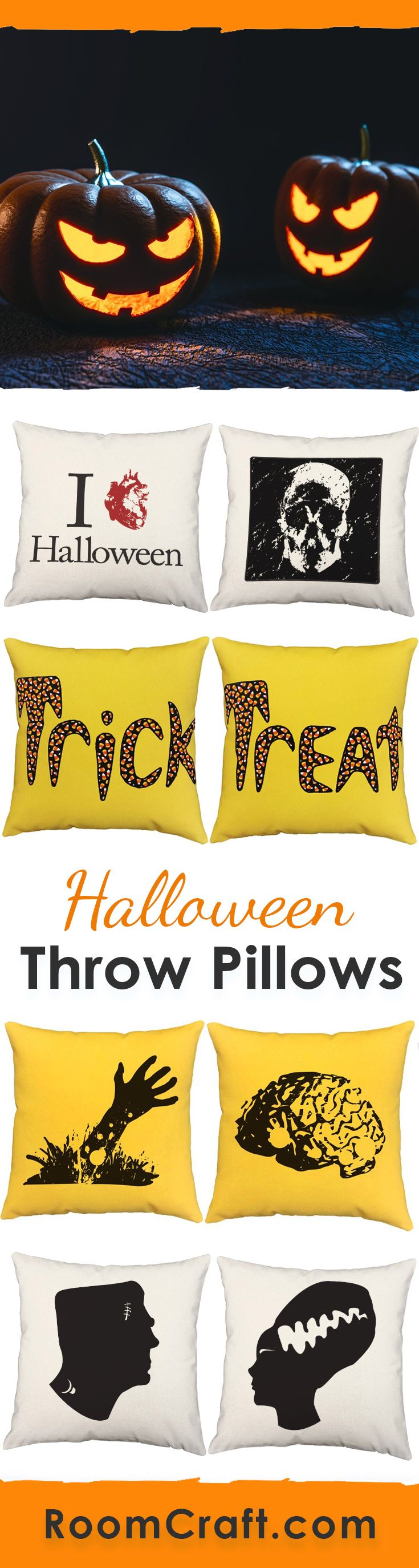 Whether you love gore or ghouls, these spooky throw pillows will scare the pants off of you. Perfect for Halloween and year round decorations. Each scary design is offered in multiple fabrics, colors, and sizes making them the perfect addition to your home, game room or man cave. Our quality Halloween pillow covers are made to order in the USA and feature 3 wooden buttons on the back for closure. Choose your favorite and create a truly unique pillow set. #roomcraft