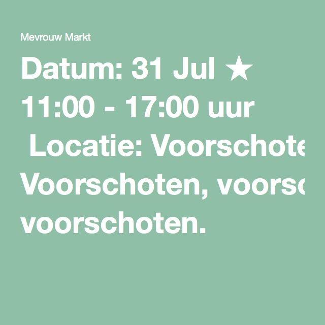 Home made market Datum: 31 Jul ★ 11:00 - 17:00 uur  Locatie: Voorschoten, voorschoten.