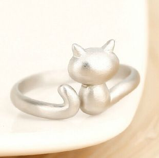 Hot Charm 925 Sterling Silver Small Cat Rings for Women High Quality Adjust Free Size Girls Gift