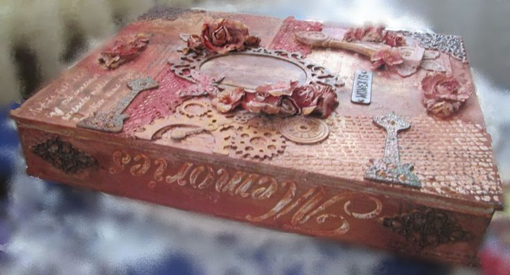 My last job - wooden box decorated with mixed media techniques