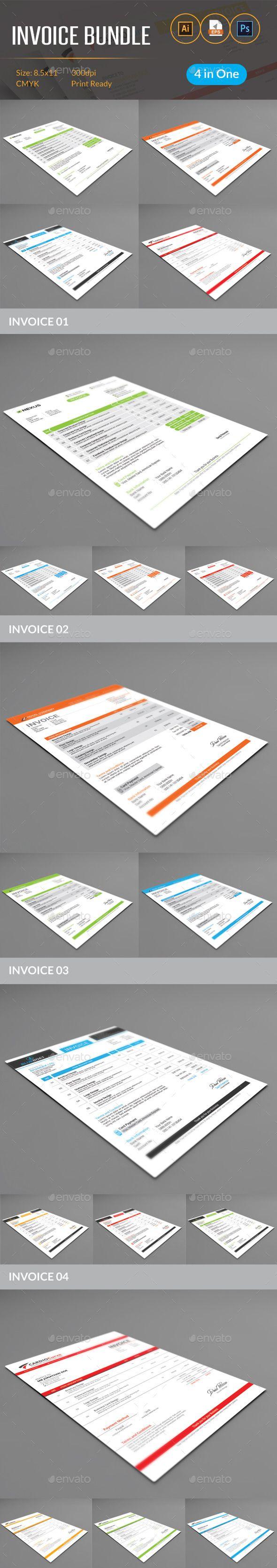 Invoice Bundle Template #design #print Download: http://graphicriver.net/item/invoice-bundle/11932629?ref=ksioks