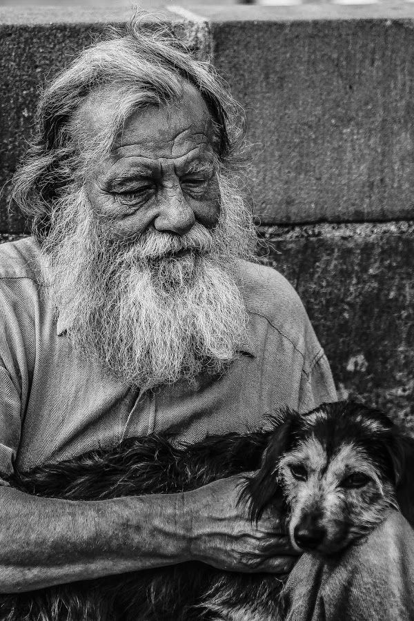 Mans Best Friend by Mark Shayler - Black & White Portraits & People ( blackandwhite, dog, people, man, portrait,  )