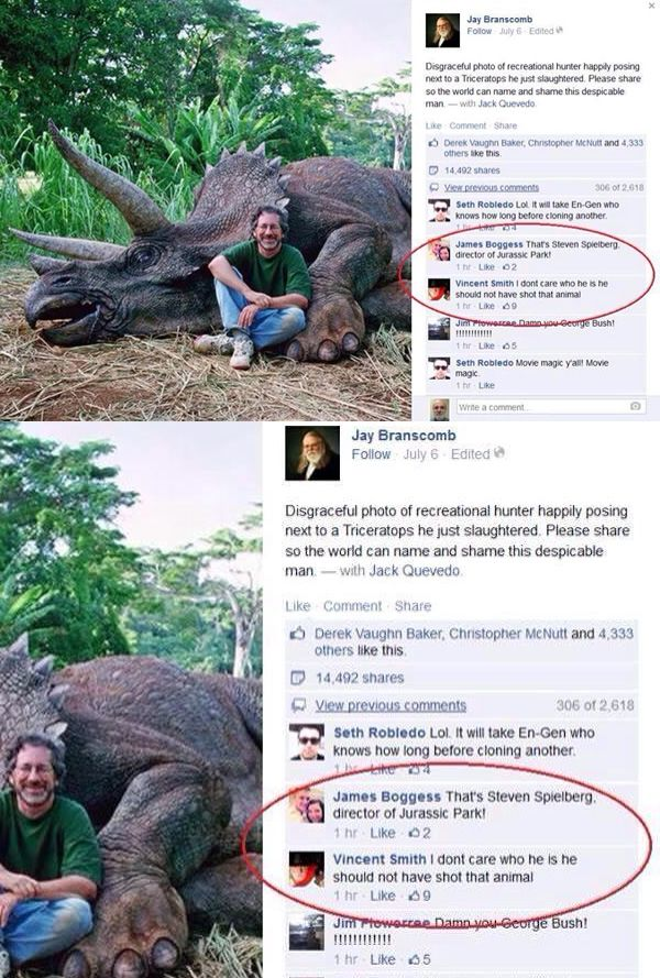 """Facebook Commenters are Steaming MAD at Steven Spielberg for Killing This """"Innocent Animal"""""""