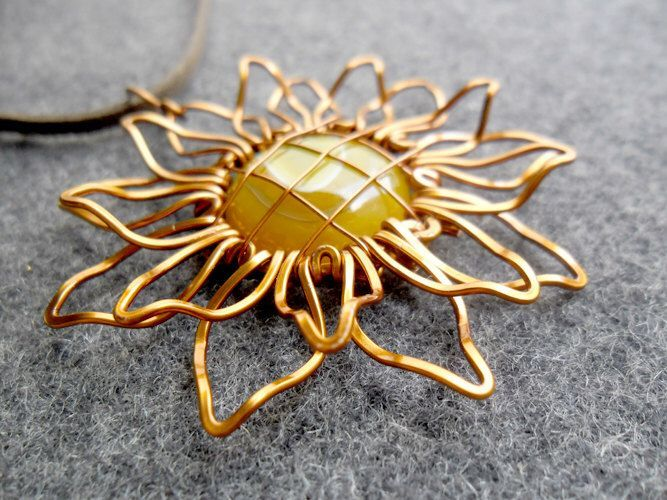 SUNFLOWER big pendant - copper wire 3D shape combined a large Gold Agate   - copper jewelry - wire jewelry by MakeMyStyle on Etsy https://www.etsy.com/listing/207603901/sunflower-big-pendant-copper-wire-3d