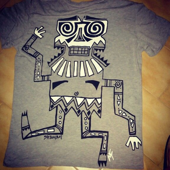 "Main Fait Homme - ""Shaman"" Cotton T-shirt, hand painted."
