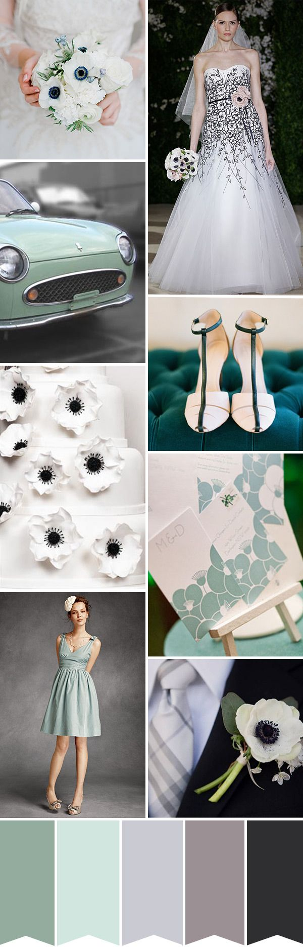 What about a twist on black and white for a wedding - this is modern wedding colour palette inspired by white Anemones and shades of Sea Green   onefabday.com