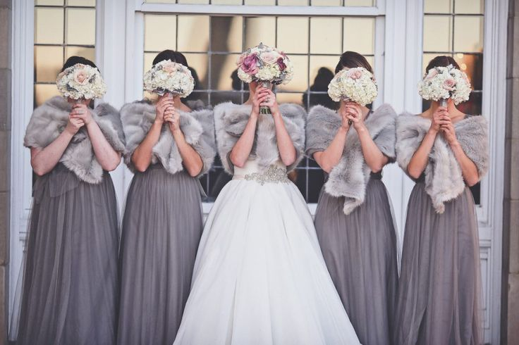 New Years Eve Fairmont Wedding. Bridesmaids, Fur Shawls, Winter Wedding, NYE Wedding, Grey Bridesmaid Dress, Bridal Party