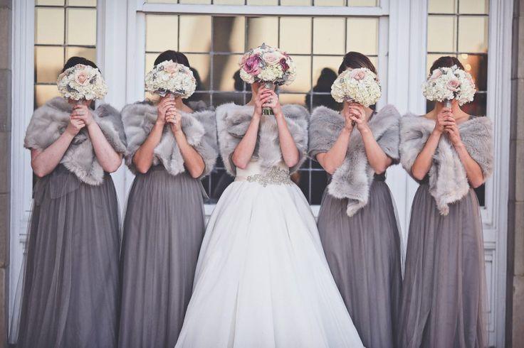 New Years Eve Fairmont Wedding. Bridesmaids, Fur Shawls, Winter Wedding, NYE Wedding, Grey Bridesmaid Dress, Bridal Party