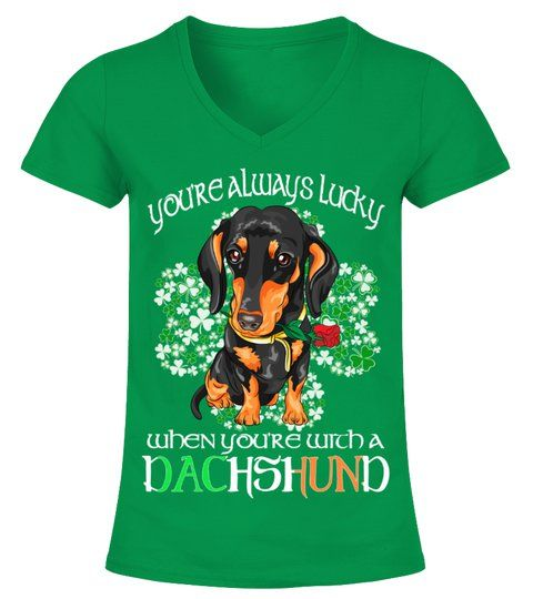 St Patricks Day Lucky With A Dachshund V Neck T Shirt Woman