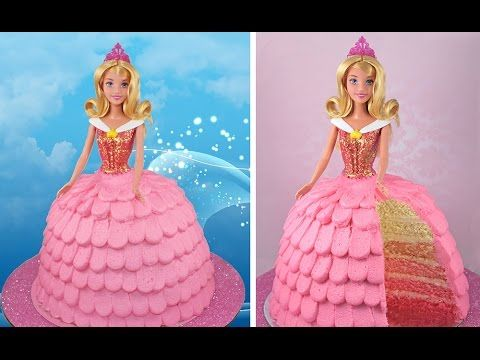 Sleeping Beauty OMBRE Layer Cake.  Full 'how to' tutorial. Learn how to make these delicious treats, and heaps more on the MyCupcakeAddiction YouTube Channel!