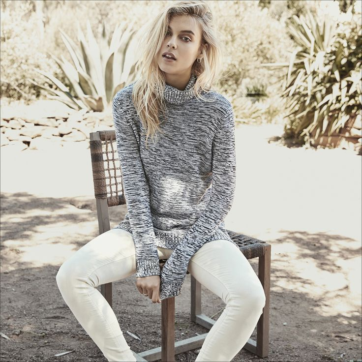 Archy grey roll neck knitted jumper womens