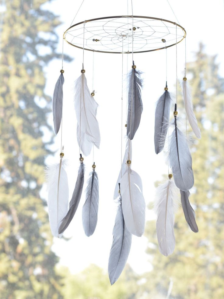 Gender Neutral Baby,  Feather Baby Mobile, Grey Neutral Nursery Decor, Dreamcatcher Bohemian Bedroom Decor, Baby Shower Gift, Tribal Decor by FeatherDreamcatchers on Etsy https://www.etsy.com/ca/listing/293282851/gender-neutral-baby-feather-baby-mobile