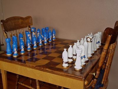 VTG-DUNCAN-CERAMIC-CHESS-SET-Large-8-King-HUGE-Hand-Painted-Weighted-PIECES