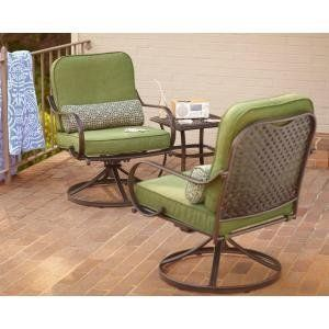 PATIO FURNITURE OUTDOOR LAWN & GARDEN HAMPTON BAY FALL RIVER WITH MOSS CUSHIONS 3 PC by PATIO FURNITURE At The Neighborhood Corner Store. $928.83. Powder-coated frames for lasting color retention on finish Trendy Green fabric complements Dark Brown frame finish. Heavy-duty steel frames for lasting durability Weather-resistant cushions for seasons of use. Quick and easy assembly using included hardware and tools. Includes 2 coordinating lumbar pillows for added comfort Decorativ...
