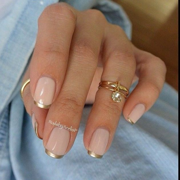 Nude Gold French~ Love this I did it with Rose Gold for my vaca to St Barts... loved it!