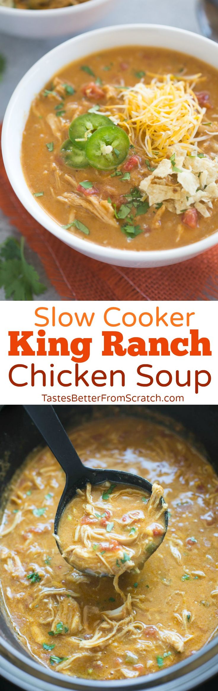 There is so much to love about this delicious Slow Cooker King Ranch Chicken Soup! It's one of the easiest soups to make but the bold and flavorful Tex-Mex inspired flavors really can't be beat! Total bonus that the slow cooker does most of the work. | Tastes Better From Scratch