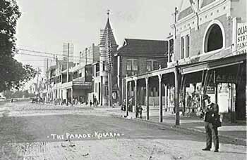 #Kogarah, Railway Parade. The round tower is the old post office which is now the community centre. The end of the road (to the left of the photo) is our office. How times have changed! #history #stgeorge #livingherekogarah