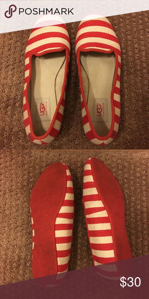 Ugg Australia Alloway Nautical Stripe Loafers Red/Cream ballet flats UGG Shoes Flats & Loafers
