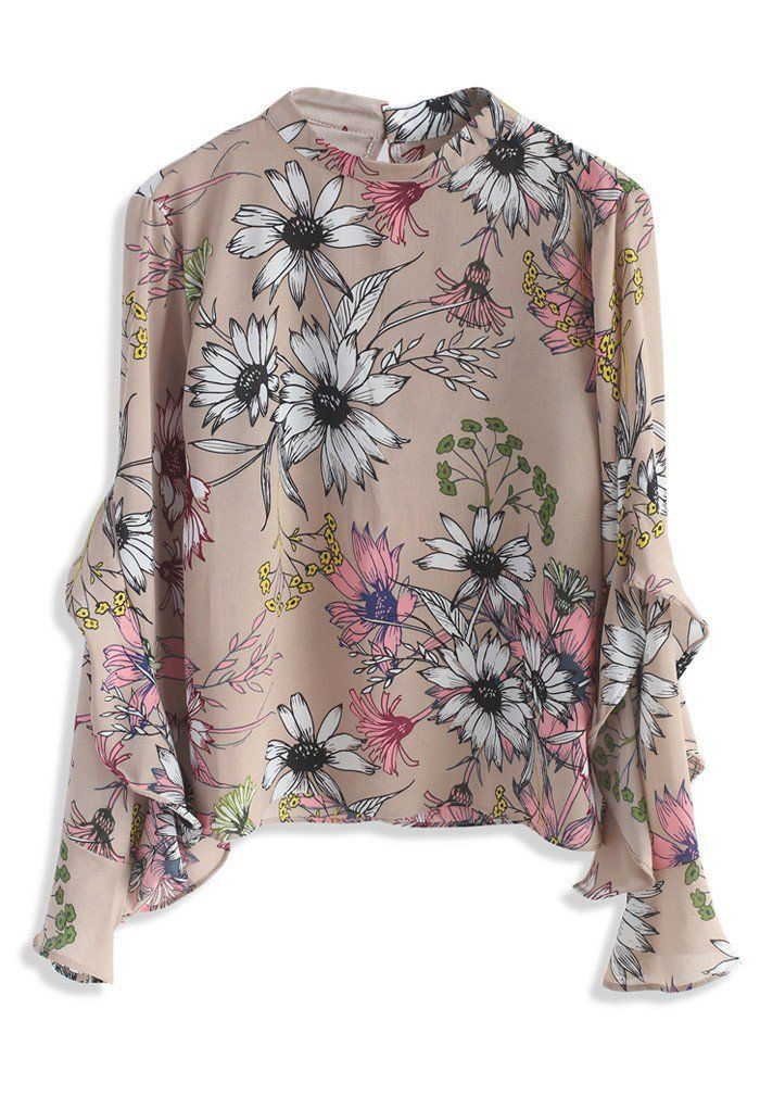 Floral Concerto Chiffon Top in Beige - New Arrivals - Retro, Indie and Unique Fashion