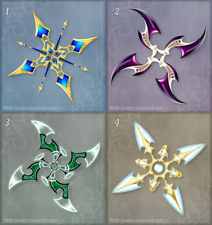 I loved designing shurikens, so I made another set! DO NOT edit, trace, copy or repost these designs! They belong to people who bought them. 1 - sold to GuardianofLightAura 2 - sold to GuardianofLi...
