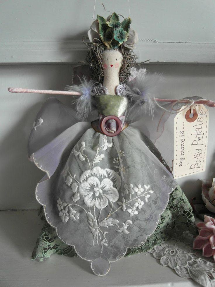 Handmade fairy - vintage fabrics and trims
