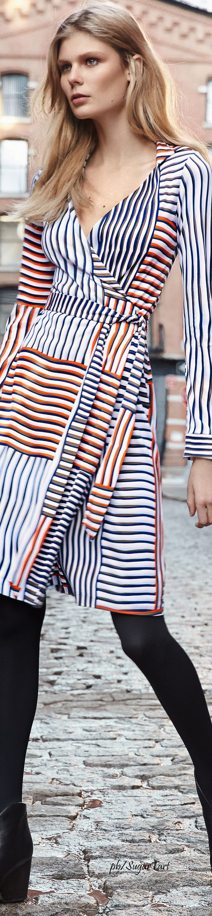 Coloured stripes. Diane Von Furstenberg Pre-Fall 2016