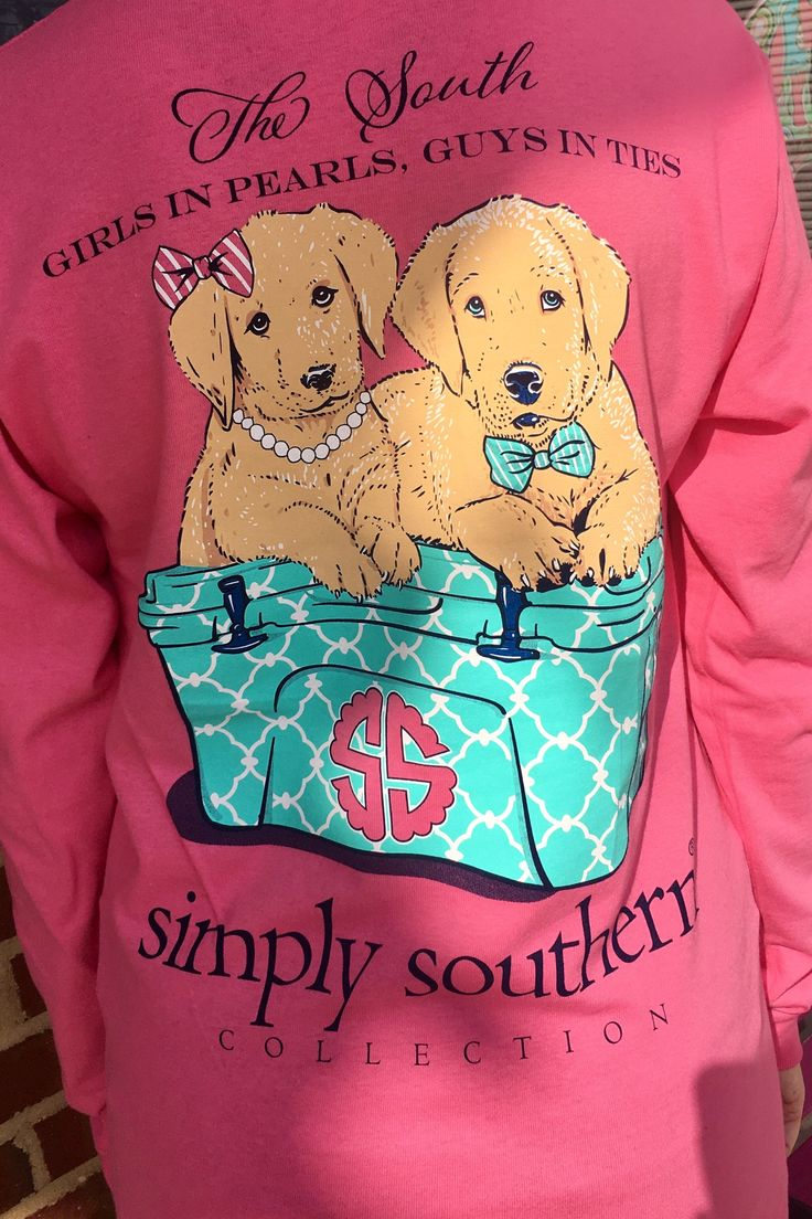 """Simply Southern long sleeve tee with saying """"Girls in pearls, guys in ties"""" with puppies and a cooler on the back in the color bubblegum pink."""