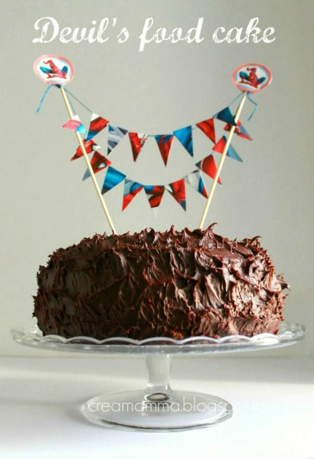 Devil's food cake with Spiderman cake bunting banner