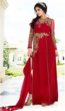 Red Color Georgette Straight Cut Style Party Salwar Kameez | FH508177407 #heenastyle , #boutique , #pakistani, #salwar , #kameez , #suit , #dresses , #styles , #fashion , #clothing , #henna , #designs , #mehndi , #more , @heenastyle , #party , #online , #abaya