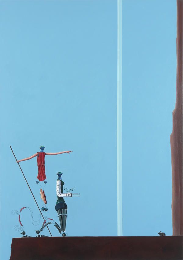 Nader Ahriman The Two Forms Climb a Plateau; They Kneel Down before a Cross 2006 Acrylic on canvas 66.93 x 47.24 inches