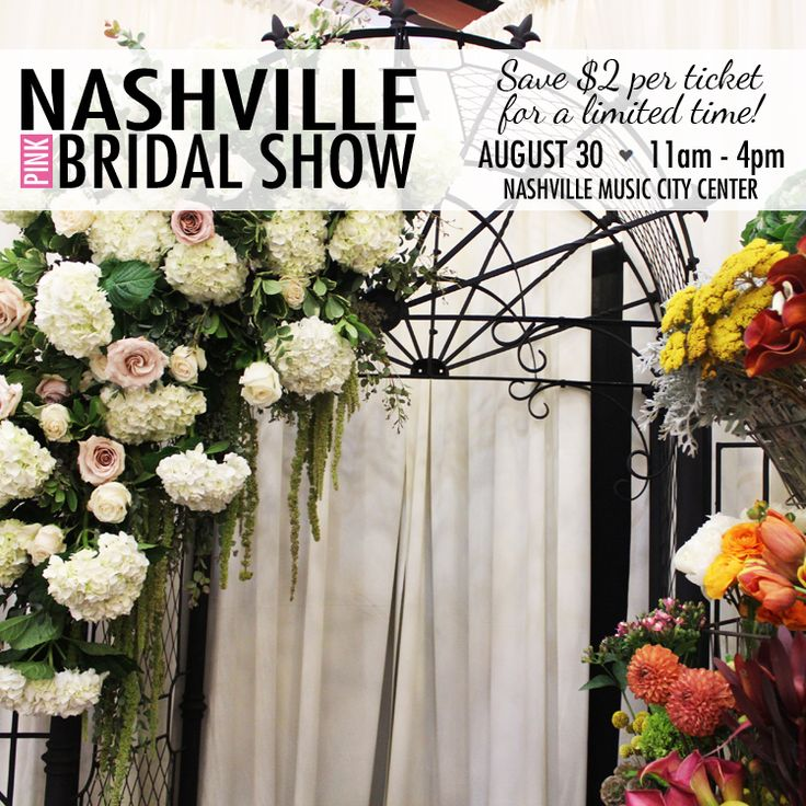 The state's most-requested bridal show is coming your way on August 30th, Nashville! Save $2 per Pink Bridal Show ticket for a limited time by ordering on our website ➩ http://www.thepinkbride.com/shows/nashville/