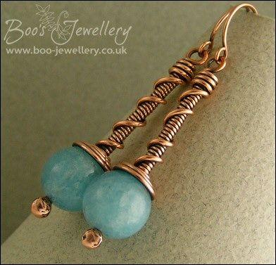Blue sponge quartz and copper coil on coil earrings